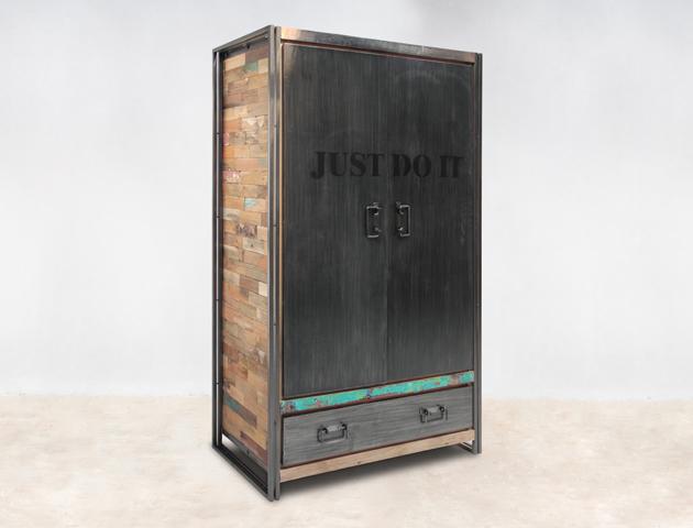 Armoire en bois recycl 2 portes 1 tiroir m tal industryal for Armoire metallique 2 portes
