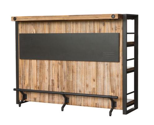 bar en métal noir et acacia collection loft - détails