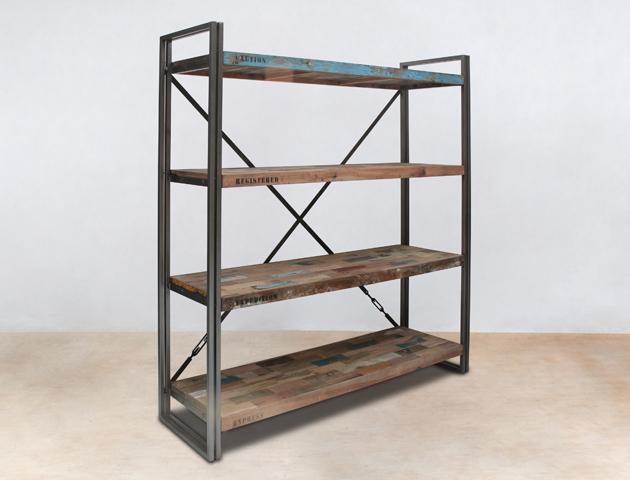 bibliothèque 160cm avec 4 plateaux en bois recyclés de bateaux - détails