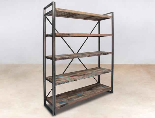bibliothèque 160cm avec 5 plateaux en bois recyclés de bateaux - détails
