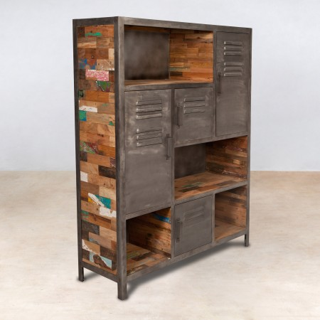 biblioth que en bois recycl s 4 portes m tal industryal. Black Bedroom Furniture Sets. Home Design Ideas