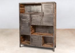 bibliothèque en bois recyclés de bateaux 4portes métal - détails