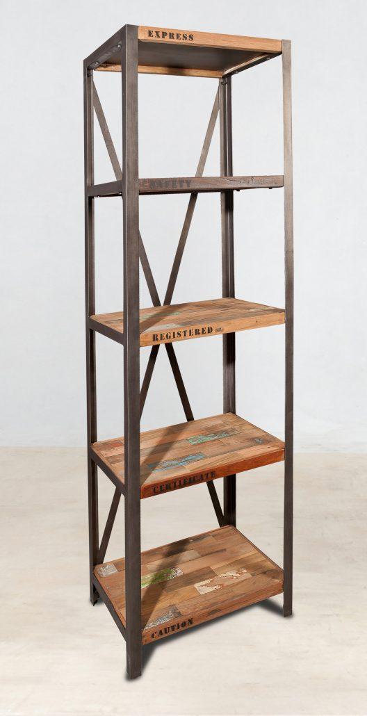 biblioth que colonne 5 plateaux en bois recycl s industryal. Black Bedroom Furniture Sets. Home Design Ideas
