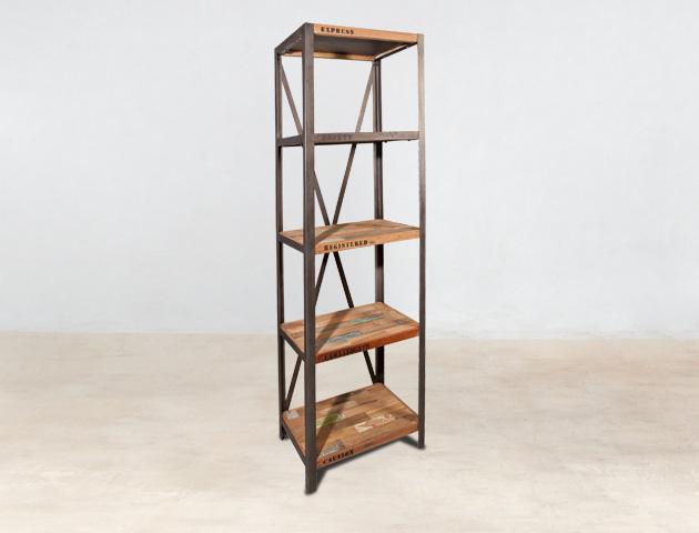 bibliothèque colonne 5 plateaux en bois recyclés INDUS - détails