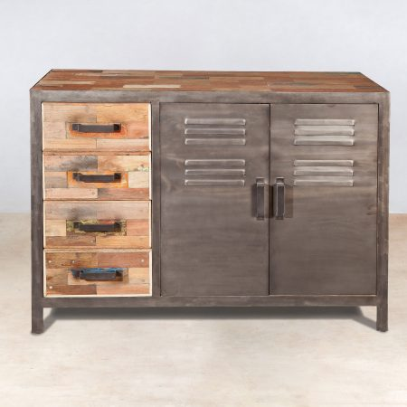 buffet en bois recycl 4 tiroirs 2 portes 120cm industryal. Black Bedroom Furniture Sets. Home Design Ideas
