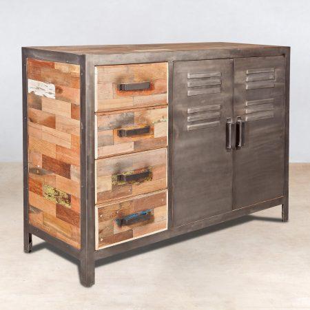 buffet en bois recycl 4 tiroirs 2 portes 120cm industryal. Black Bedroom Furniture Sets. Home Design Ideas