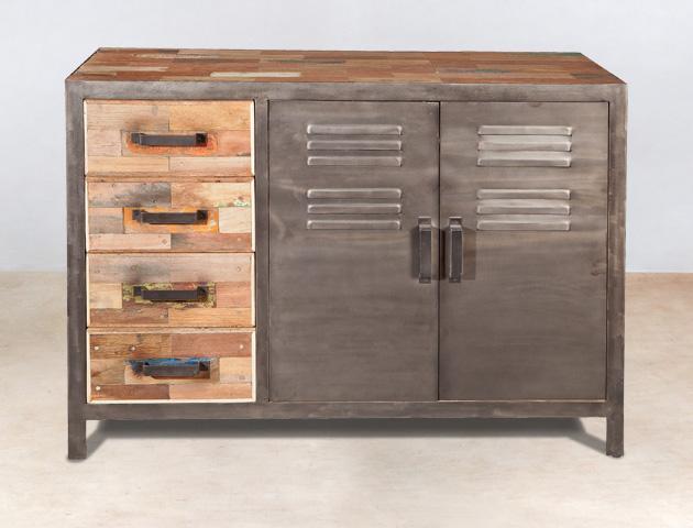 buffet 4 tirois en bois recyclés et 2 portes métal INDUS - détails