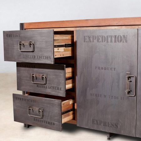 Buffet en bois recycl 2 portes et 3 tiroirs 160cm industryal - Buffet 3 portes 3 tiroirs ...