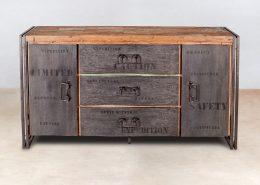 buffet 160cm en bois recyclés 3 tiroirs centraux 2portes samudra - détails