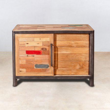 buffet en bois recycl s 3 tiroirs 1 porte coulissante industryal. Black Bedroom Furniture Sets. Home Design Ideas