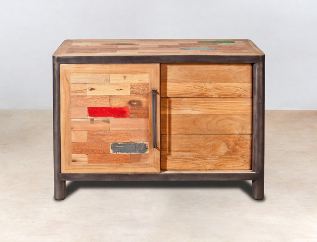 buffet en bois recycl s 3 tiroirs 1 porte coulissante industryal. Black Bedroom Furniture Sets. Home Design Ideas