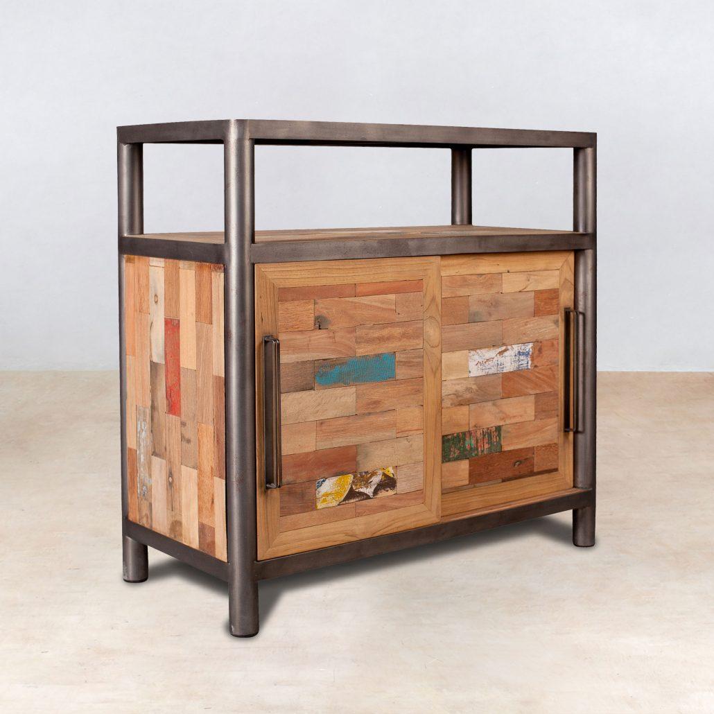 buffet en bois recyclés 2 portes coulissantes et 1 niche - ocean