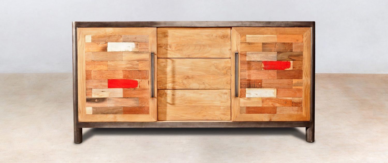 buffet en bois recycl avec 3 tiroirs 2 portes. Black Bedroom Furniture Sets. Home Design Ideas