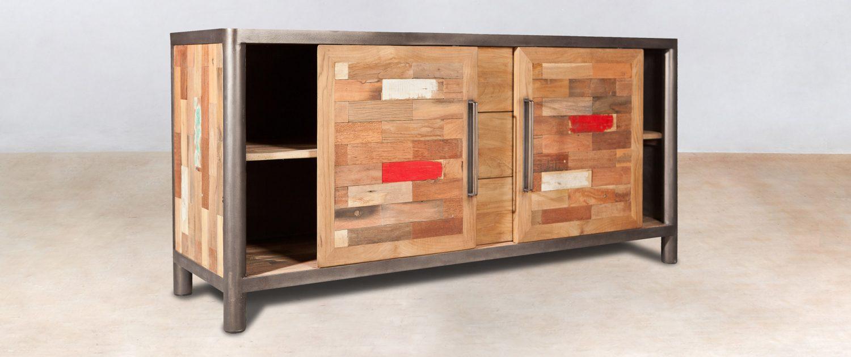 Buffet en bois recycl avec 3 tiroirs 2 portes coulissantes industryal - Houten buffet recyclen ...