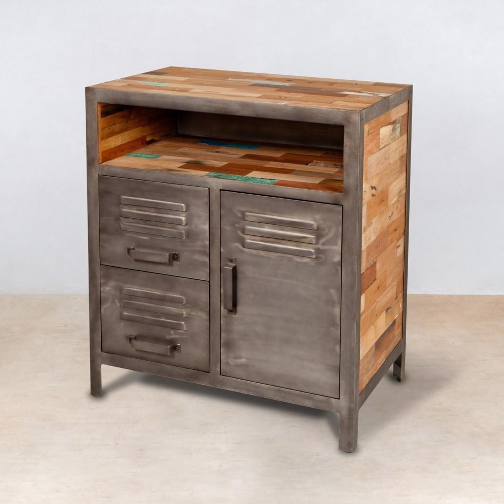 buffet en bois recycl s 1 niche avec 2 tiroirs 1 porte m tal. Black Bedroom Furniture Sets. Home Design Ideas