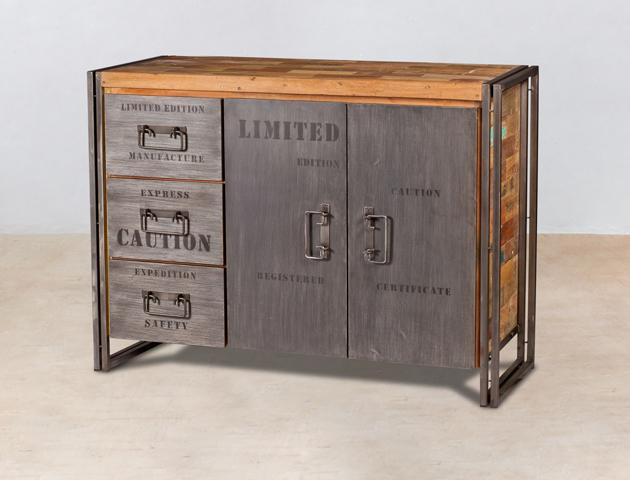 buffet en bois recyclés de bateaux 2 portes et 3 tiroirs métal - détails