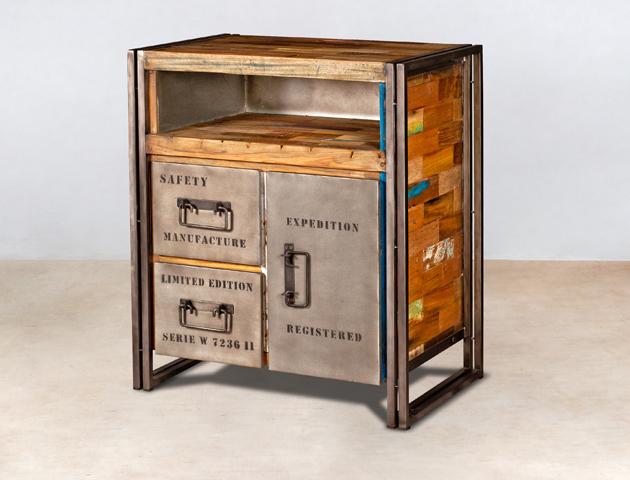 buffet en bois recyclé de bateaux avec 2 tiroirs et 1 porte métal - détails