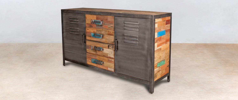 buffet en bois recycl s 4 tiroirs bois 2 portes m talliques. Black Bedroom Furniture Sets. Home Design Ideas
