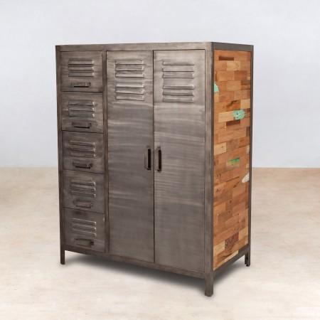 buffet en bois recycl s 2 portes 5 tiroirs m tal industryal. Black Bedroom Furniture Sets. Home Design Ideas