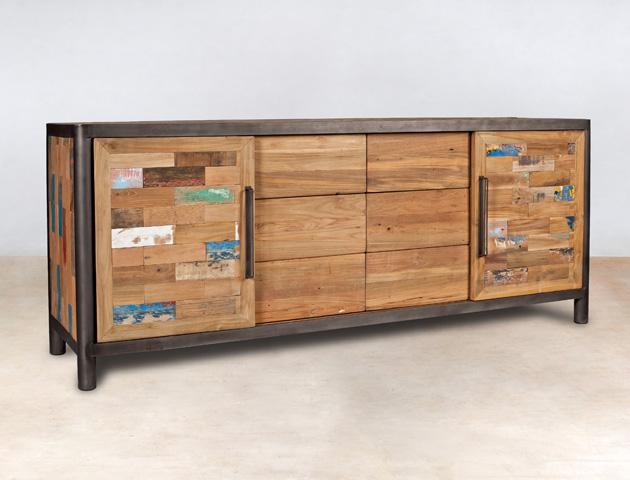 buffet en bois recyclés de bateaux 6 tiroirs et 2 portes coulissantes - détails