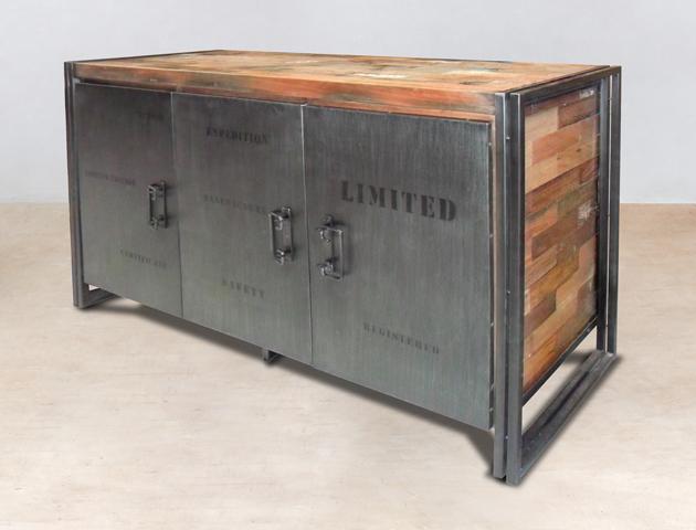 buffet en bois recyclés de bateaux 3 portes métalliques - détails