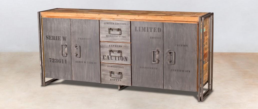buffet en bois recycl s de bateaux 4 portes et 3 tiroirs. Black Bedroom Furniture Sets. Home Design Ideas