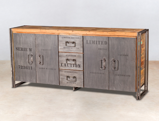 buffet en bois recyclé de bateaux avec 4 portes et 3 tiroirs - détails