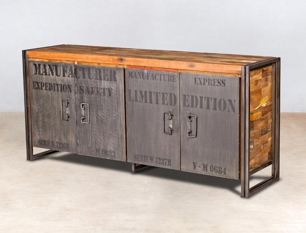 buffet en bois recyclé de bateaux 4 portes métal - détails