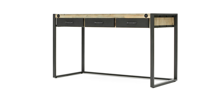 bureau en acacia avec 3 tiroirs m talliques de 140cm. Black Bedroom Furniture Sets. Home Design Ideas
