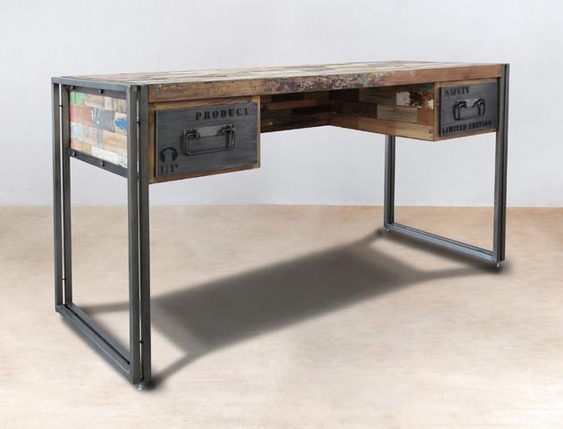 Bureau en bois recyclés de bateaux 2 tiroirs métal - détails