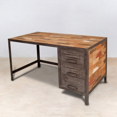 bureau 140cm en bois recycl s 3 tiroirs m tal industryal. Black Bedroom Furniture Sets. Home Design Ideas