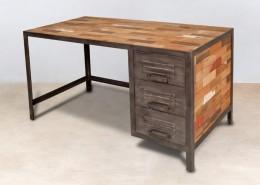 bureau en bois recyclés de bateaux 3 tiroirs métal - détails