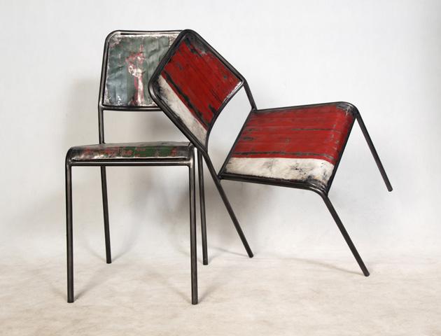 Chaise en éléments métalliques recyclés de bidons - détails