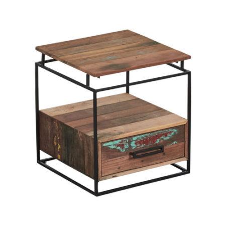 table de chevet bout de canap en bois recycl s 1 tiroir industryal. Black Bedroom Furniture Sets. Home Design Ideas