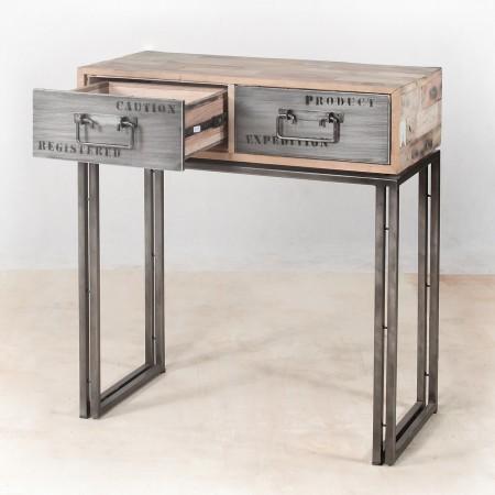 Console en bois recycl s avec 2 tiroirs m tal industryal for Console bois metal