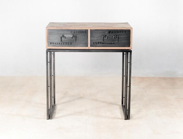 console en bois recycl s avec 2 tiroirs m tal industryal. Black Bedroom Furniture Sets. Home Design Ideas