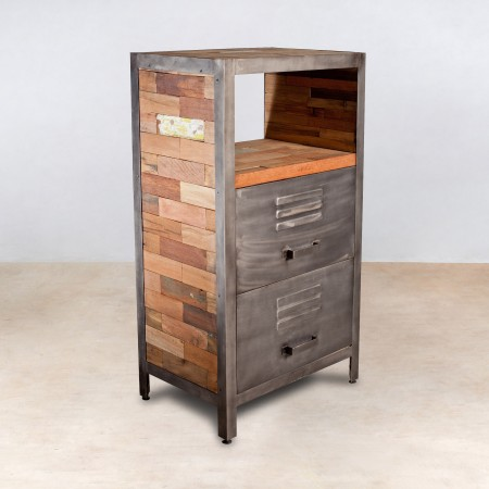 Meuble 1 niche en bois recycl s 2 tiroirs m tal industryal for Petit meuble metal