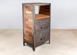 meuble 1 niche en bois recyclés de bateaux 2 tiroirs métal - détails