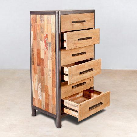 meuble en bois recycl s 6 tiroirs ocean industryal. Black Bedroom Furniture Sets. Home Design Ideas