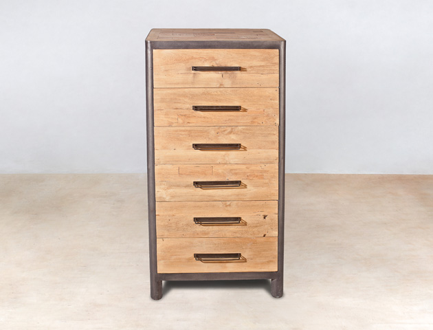 meuble en bois recycl s 6 tiroirs ocean industryal. Black Bedroom Furniture Sets. Home Design Ideas
