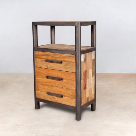 Meuble en bois recycl s 1 niche 3 tiroirs industryal for Meuble a tiroir en fer