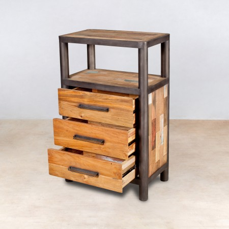 meuble en bois recycl s 1 niche 3 tiroirs industryal. Black Bedroom Furniture Sets. Home Design Ideas