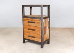 meuble de rangement en bois recyclés 1 niche et 3 tiroirs - détails