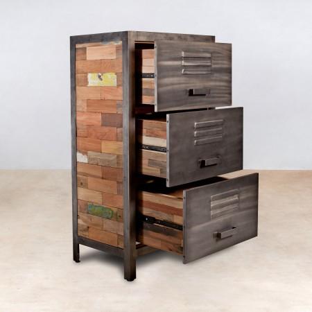 meuble en bois recycl s avec 3 tiroirs m tal industryal. Black Bedroom Furniture Sets. Home Design Ideas