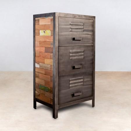 Meuble en bois recycl s avec 3 tiroirs m tal industryal for Meuble metal tiroir