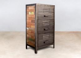 meuble en bois recyclés de bateaux 3 tiroirs métal - détails