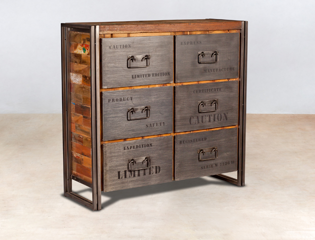meuble commode en bois recycl s 6 tiroirs m tal industryal. Black Bedroom Furniture Sets. Home Design Ideas