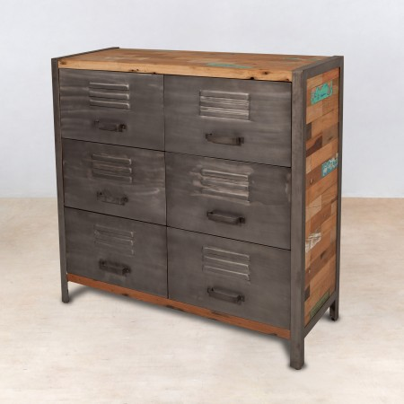 Meuble commode en bois recycl 6 tiroirs m tal industryal for Meuble metallique a tiroir