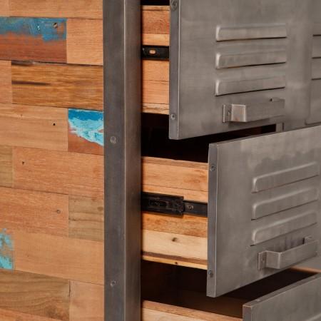 Meuble commode en bois recycl 6 tiroirs m tal industryal for Meuble 6 tiroirs
