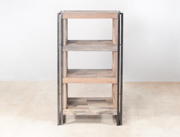 meuble de rangement 4 étagères en bois recyclé - détails